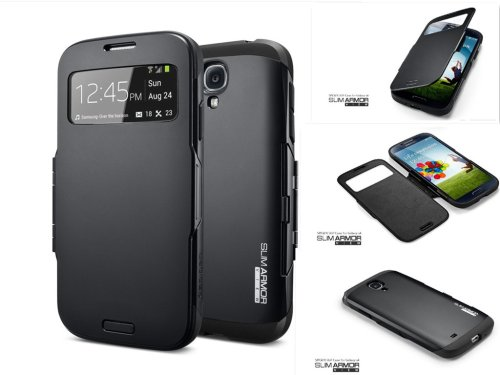 SPIGEN SGP Samsung Galaxy S4 Case Protective Slim Armor Black with S View Window / S View Cover Flip Cover Protection for Galaxy S IV Galaxy SIV i9500