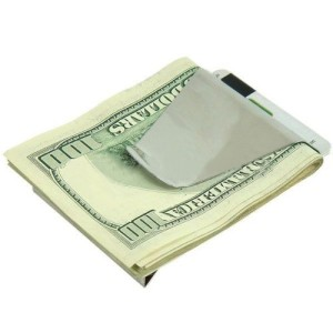 Hot and New Fashion Slim Money Clip Double Sided Credit Card Holder Steel Wallet