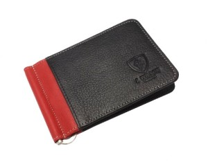 Designer J Wilson 5297 Genuine Mens Real Leather Thin Wallet Money Clip Credit Card Red Black and Brown (Black / Red)