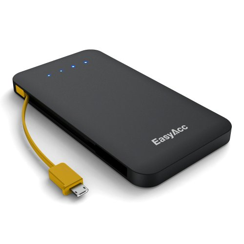 EasyAcc® iChoc 5000mAh Ultra Slim Power Bank with Built-in Micro USB Cable & LED Flashlight 2.5A Dual Port Fast Charging Portable Charger External Battery Pack for iPhone 5S 5C 4S (Apple adapters not included), Andorid Smartphone, Tablets, Bluetooth Speakers headset, Google Glass, Gopro and other devices, Matte Black