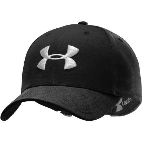 Under Armour Men's Washed Curved ADJ Cap Black Black/Black/White Size:One Size
