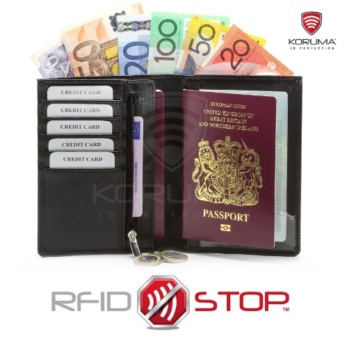 RFID Blocking Travel Wallet Biometric Passport Credit Debit Card Document Holder (Black)