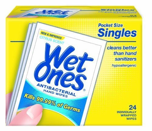 Wet Ones Singles Antibacterial Hands & Face Wipes - Citrus (24-Count)