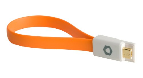 Mighty Mate MM2 Micro Magnet USB Cable - Orange - Short & Compact USB Charging/Sync Data Cable For Mobile Phones, Tablets, Cameras And Sat Nav