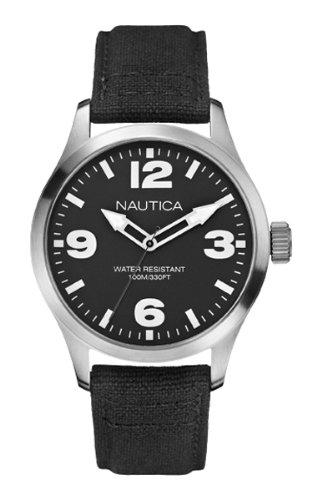 Nautica BFD 102 Men's Quartz Watch with Black Dial Analogue Display and Black Fabric Strap A11556G