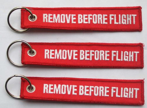 Remove Before Flight Key Chain - 3 Pieces - Embroidered Aviation Key Chain