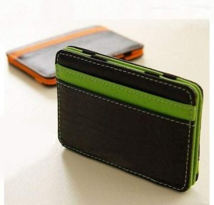 Mens MAGIC MONEY CLIP Leather Wallet ID Cash Holder Credit Card Cover Case New (Green)