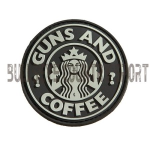 PVC GUNS & COFFEE PATCH SWAT MORAL PATCH BLACK AIRSOFT