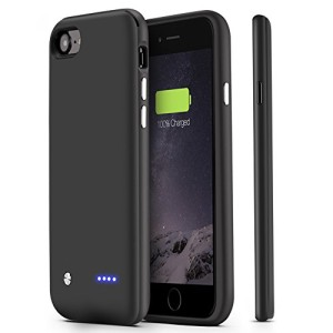 iPhone 7 Battery Case,U-good 3000mAh Ultra Slim(12 mm) Lightweight(2.5 oz) Extended Battery Case for iPhone 7(4.7 inch) Charging Case Portable Charger Extended Battery Pack Power Case Juice Pack-Black