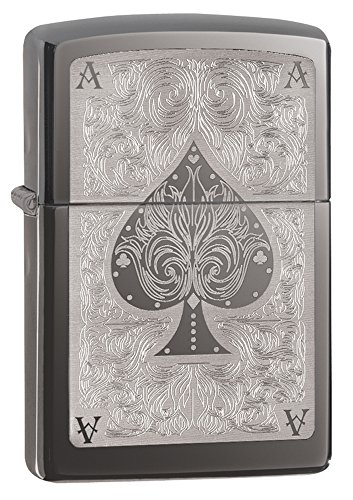 Zippo Windproof Lighter - Ace Filigree, Black Ice - 28323