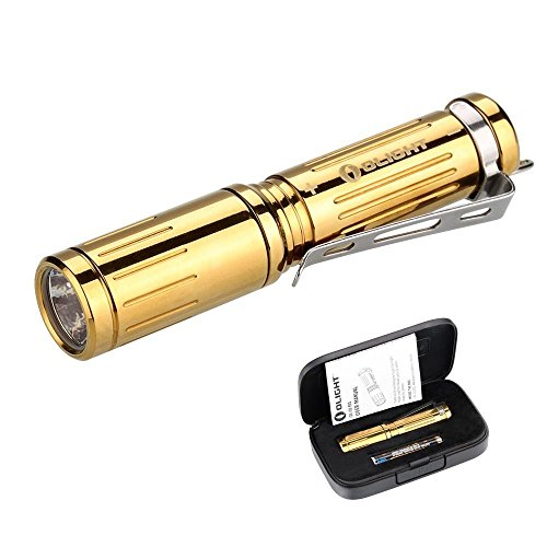 Olight® i3S-CU EOS Brass 180 Lumens Key Ring Torch Variable-output Cree XP-L LED EDC LED Keyring Torches Flashlight AAA Torch with Gift Box (Limited Version) ( i3S-Titanium Gold/Polished Finish))