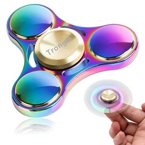 4-6 Mins Hand Spinner EDC Fidget Toy, SEGURO Colorful Titanium Alloy Stress Reducer High Speed Finger Tri-Spinner Relief Toys for Focus, Killing Time, Kids and Adults, Best for Birthday